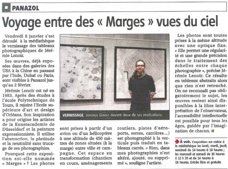 Le populaire 14 janvier 2016 - expo marges jérémie lenoir