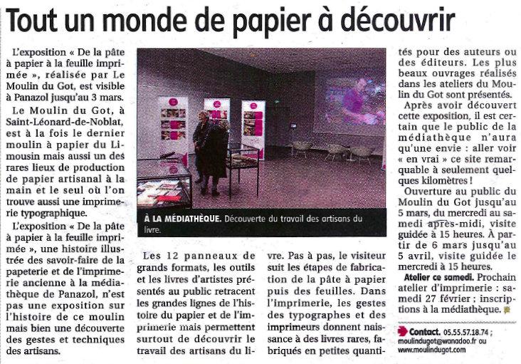 Le populaire 24 février 2016 - expo moulin du got