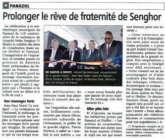 Le populaire 23 juin 2016 - inauguration senghor