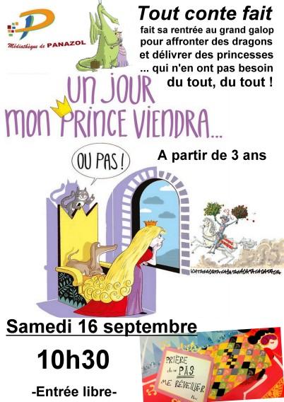 Affiche tout conte fait 16 septembre un jour mon prince viendra ou pas