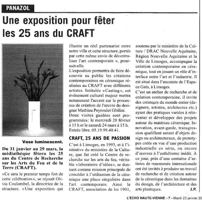 L'écho 23 janvier exposition CRAFT