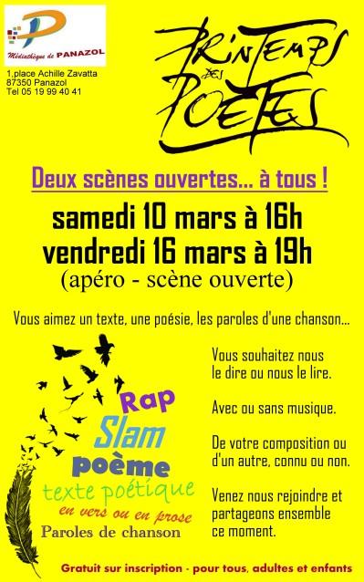 Affiche flyer scène ouverte poésie mars 2018